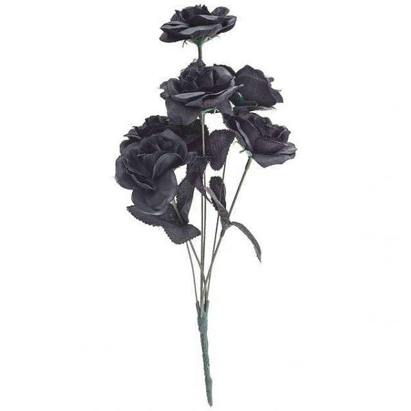 mały bukiet czarnych róż - czarne Róże sztuczne 6 sztuk