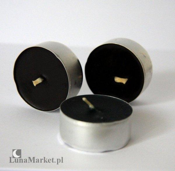 mała świeczka podgrzewacz czarny tealight z naturalnego wosku pszczelego