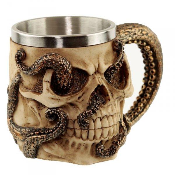 dekoracyjny kufel w kształcie czaszki - Czaszka z Ośmiornicą Cthulhu Octopus