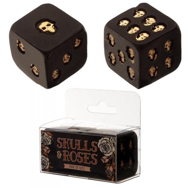 kostki do gry w złote czaszki