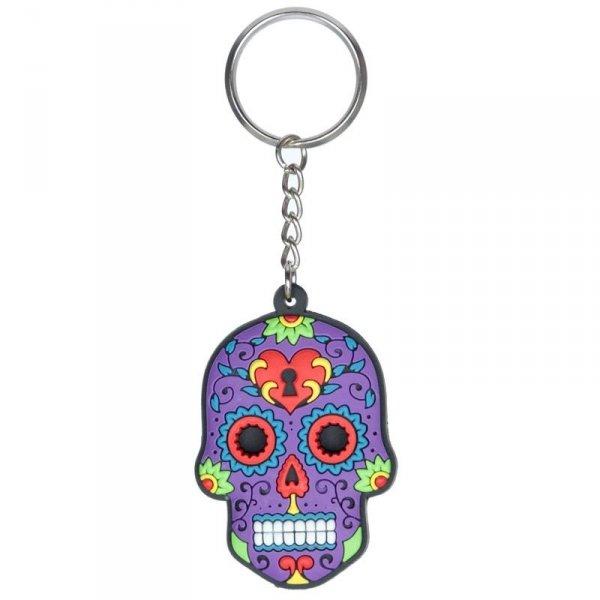breloczek do kluczy - Meksykańska Czaszka Calavera Fioletowa