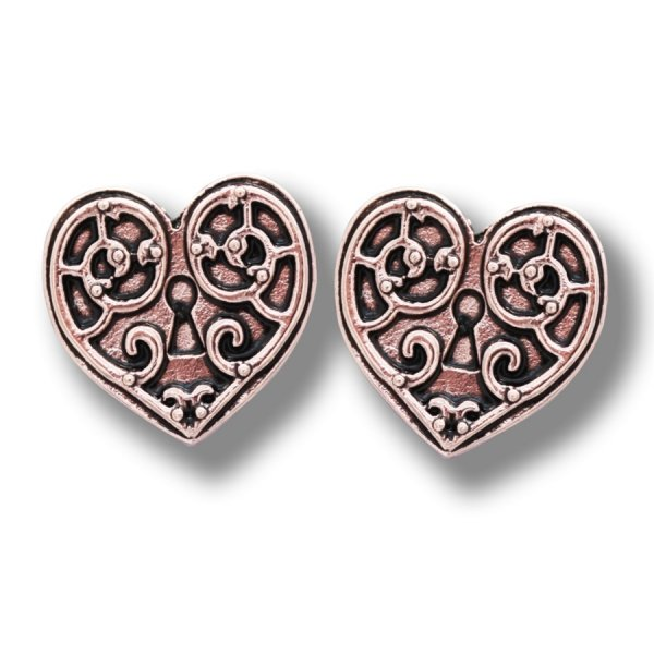 steampunkowa biżuteria - kolczyki Serce Walkirii seria Engineerium by Anne Stokes