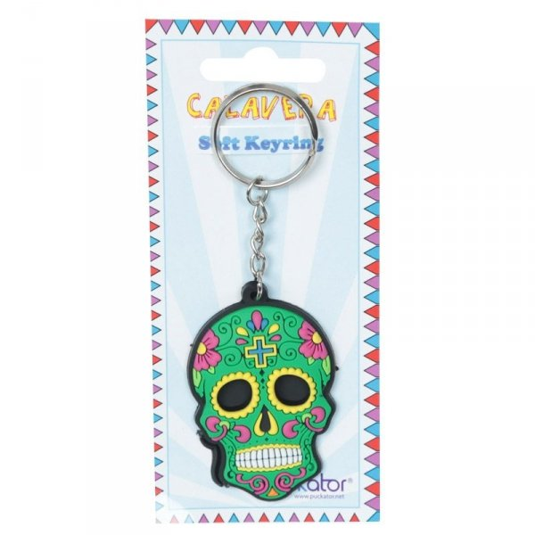 breloczek do kluczy - Meksykańska Czaszka Calavera Zielona