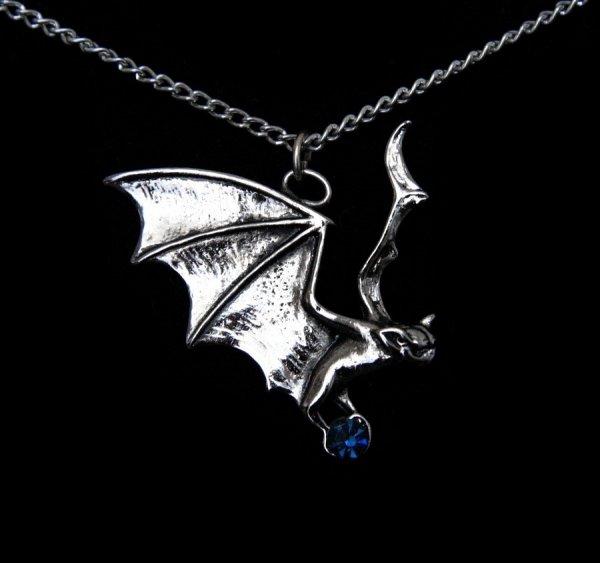 naszyjnik z nietoperzem - wisiorek Nietoperz Hanapu, magiczna biżuteria gotycka - talizman Widzenie Świata Duchów
