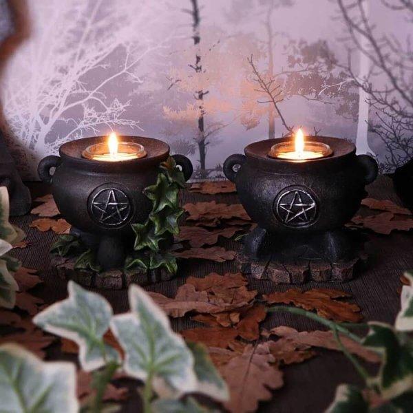 """zestaw 2 świeczników - magiczne Kociołki Czarownicy """"Ivy Cauldron"""" Nemesis Now"""