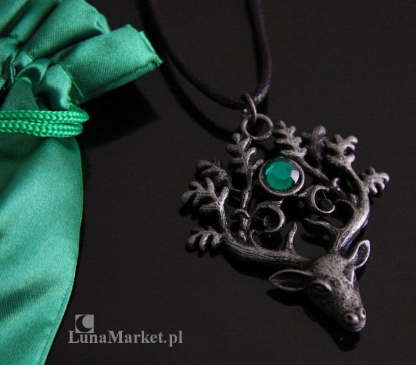 naszyjnik z Jeleniem - The Stag Lord - Jeleń Władca Lasu - magiczny wisiorek, amulet ochronny