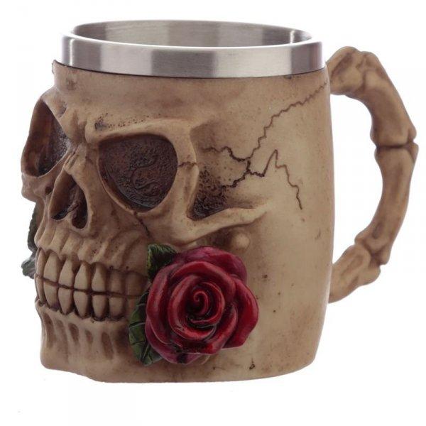 Czaszka z Czerwoną Różą w zębach - dekoracyjny kufel do piwa