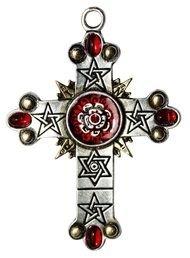 magiczna biżuteria gotycka, naszyjnik Różany Krzyż Rose Cross talizman Wysokiej Magii