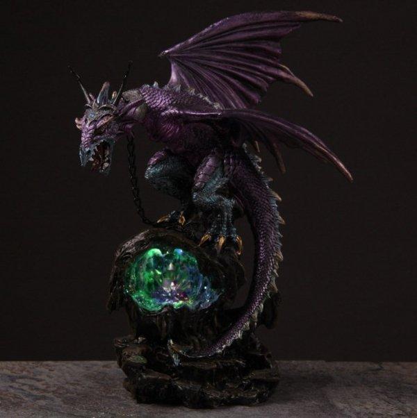 fioletowy smok lampka ledowa ze smokiem wiwern smoki pomysł na prezent lampa nocna