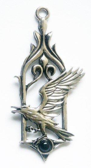 gotycki naszyjnik Kruk - talizman: Zgłębianie Wiedzy Tajemnej