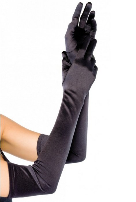 długie rękawiczki wieczorowe kolor czarny - czarne eleganckie rękawiczki