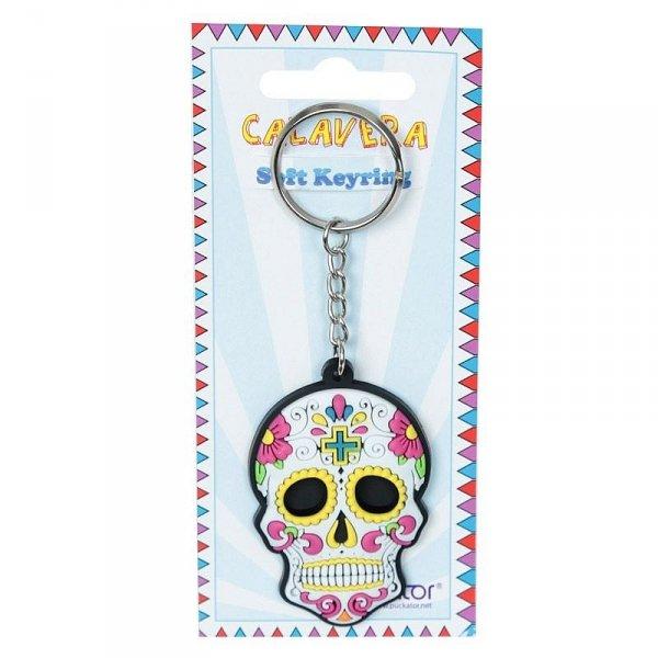 breloczek do kluczy - Meksykańska Czaszka Calavera Biała