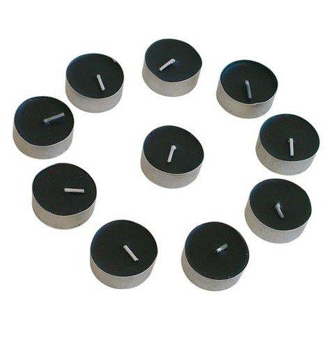 czarne świeczki podgrzewacze t-light, tea-light, w metalowej osłonie - czarne świece