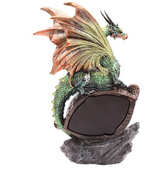 figurki smoków: figurka Zielony Smok Dragon Eye z lampką LED