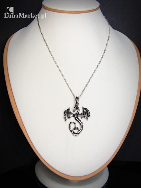 naszyjnik z łańcuszkiem - Mroczny Smok - wisiorek ze smokiem, biżuteria gotycka