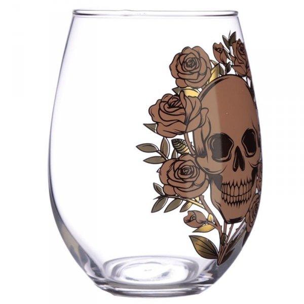 szklanki z czaszkami, komplet 2 szt - Czaszki i Róże