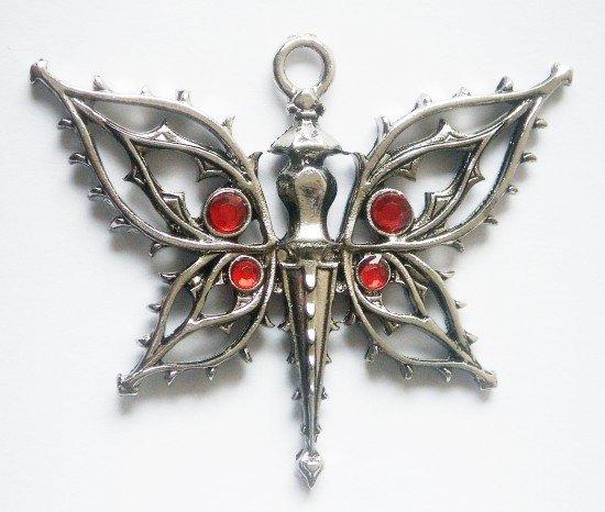 gotycki naszyjnik Motyl Requiem - amulet ochronny, seria: Dzieci Nocy