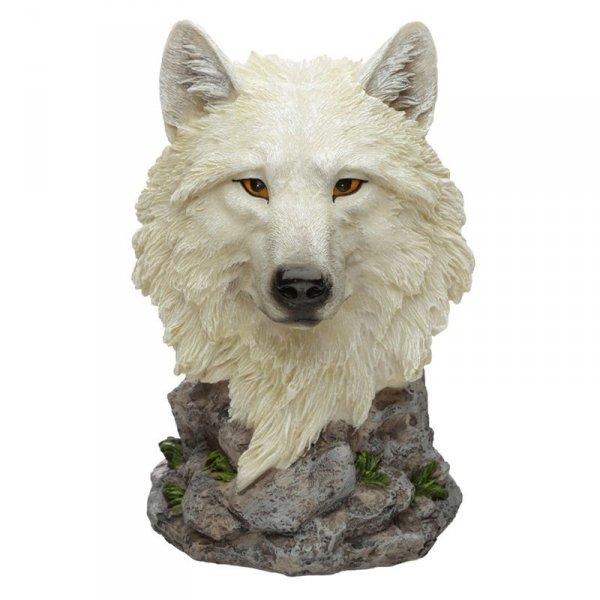 Biały Wilk Strażnik Północy - stojak na butelkę wina w kształcie głowy wilka