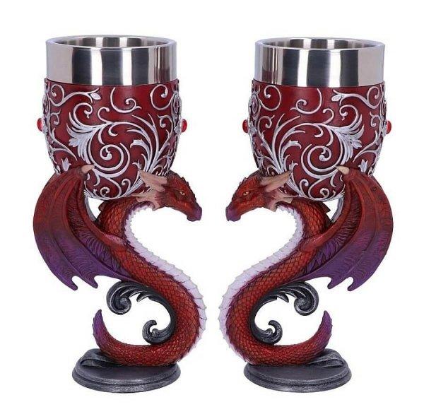 """Smocza Modlitwa """"Dragons Devotion"""" zestaw 2 kielichy dekoracyjne ze smokami w kształcie serca"""
