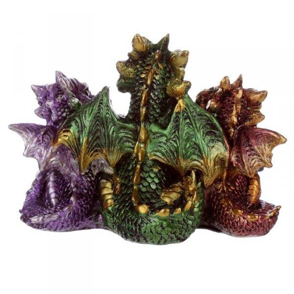 Trzy Kolorowe Smoki Czytające Książkę - figurka w stylu fantasy