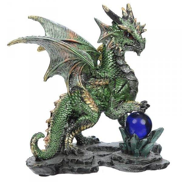 """figurka fantasy - Zielony Smok z Kulą do Przepowiedni """"Wieszcz z Kryształową Kulą"""""""