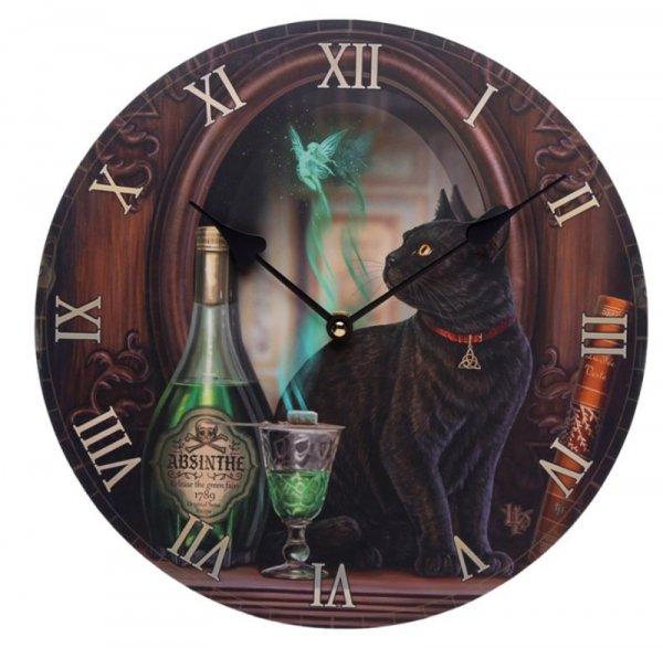 zegar ścienny z nadrukiem - Kot i Absyntowa Wróżka