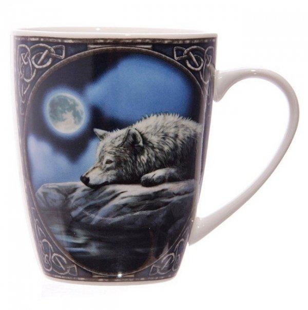 """kubek z nadrukiem - magicznym obrazkiem Lisy Parker """"Wilk nad Jeziorem"""""""