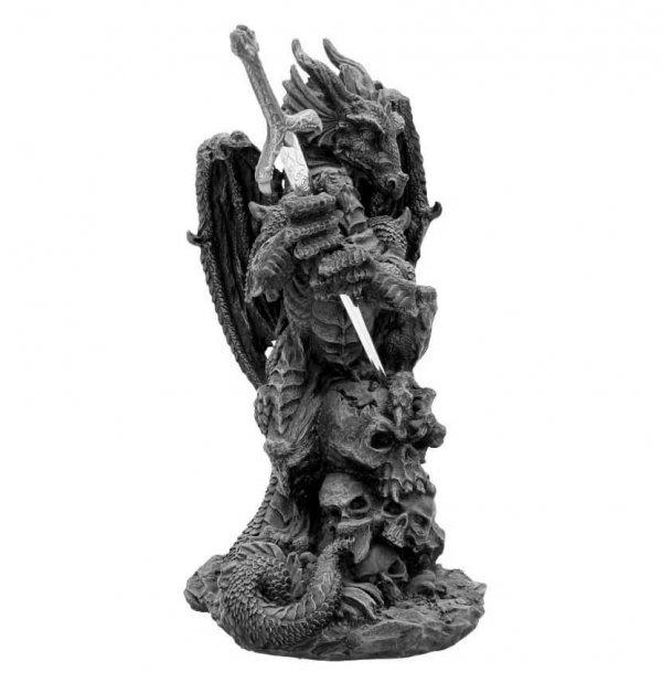 """Czarny Smok """"Slayer"""" figurka fantasy z mieczem - z nożykiem do listów"""