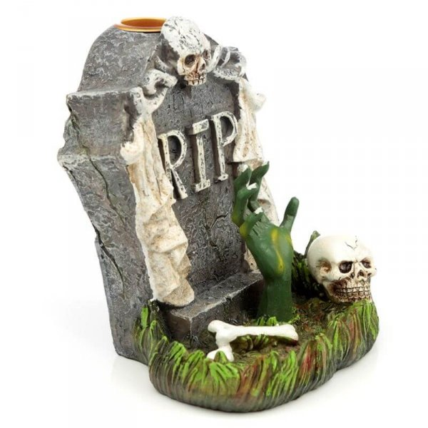 Nagrobek i Ręka Zombie Halloween - kadzielniczka na kadzidła stożkowe zwrotne, wodospad dymny na spadający dym