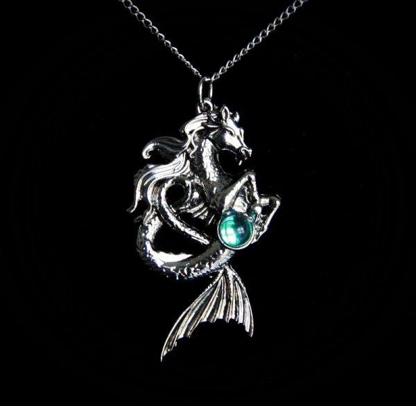 """naszyjnik """"Kelpie"""" Koń Wodny - magiczna biżuteria, seria: Bestiariusz, talizman tajemniczego ducha"""