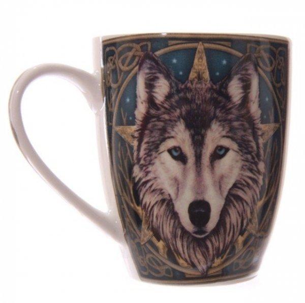 """""""Magiczny Wilk"""" - kubek z nadrukiem wilk i pentagram, projekt Lisy Parker"""