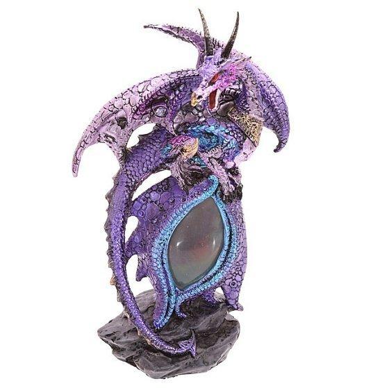 figurki smoków: figurka Fioletowego Smoka Dragon Eye z lampką LED