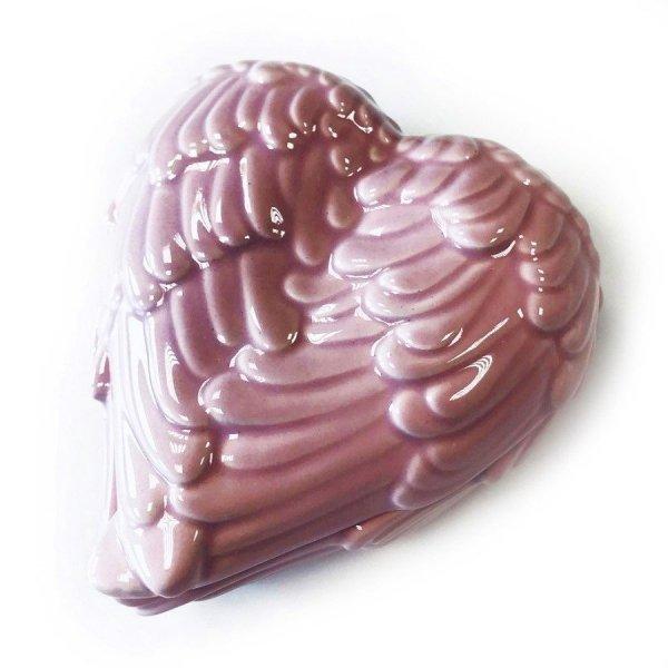 szkatułka porcelanowa, ceramiczna Skrzydła Anioła Różowe, anielskie pudełko na drobiazgi