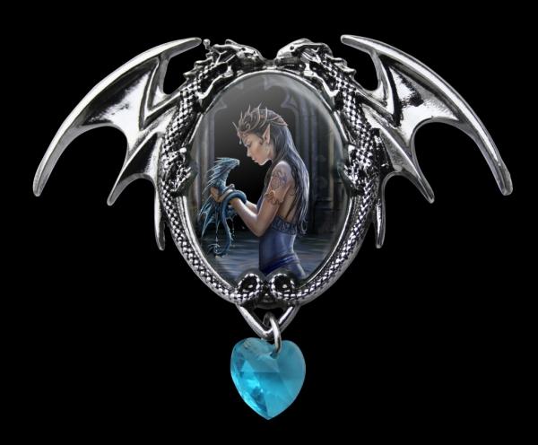 gotycka kamea niebieska z elfem i smokiem - Water Dragon Anne Stokes