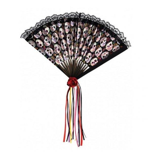 wachlarz w meksykańskie kolorowe czaszki Calaveras, kolor czarny Day of the Dead