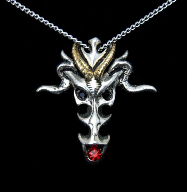 magiczny naszyjnik, biżuteria gotycka Dragon Skull Smocza Czaszka - talizman: Bogactwo, Dostatek