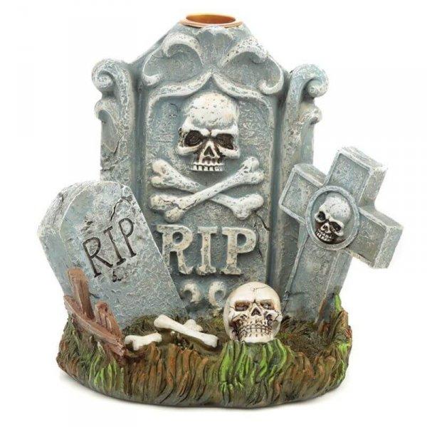 Nagrobek RIP i Czaszki Halloween- kadzielniczka na kadzidła stożkowe płynące, wieża dymna na spadający dym jak mgła