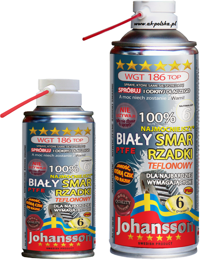 Smar biały rzadki z PTFE JOHANSSON WGT 186 TOP spray 400ml