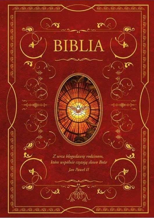 Biblia z obwolutą - wizerunek Ducha Świętego