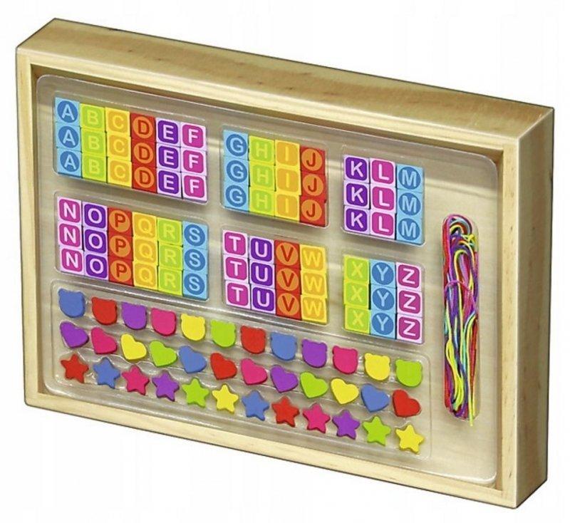 Zabawka drewniana-Literkowy zestaw koralików TREFL