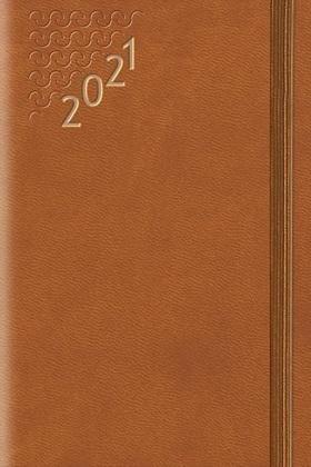 Terminarz 2021 B7 Flex z gumką brązowy