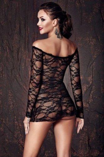 Bielizna-Lynette black chemise S (halka&string)