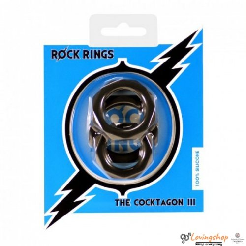 Rock Rings The Cocktagon lll 3 Pack Black
