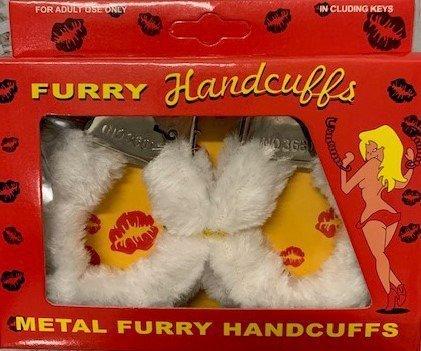 Furry cuffs, colour white, in colour box