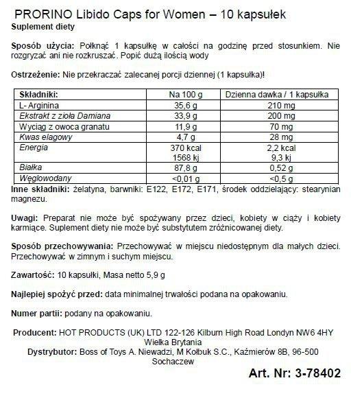 Supl.diety-PRORINO Women- 10pcs black line Libido Caps