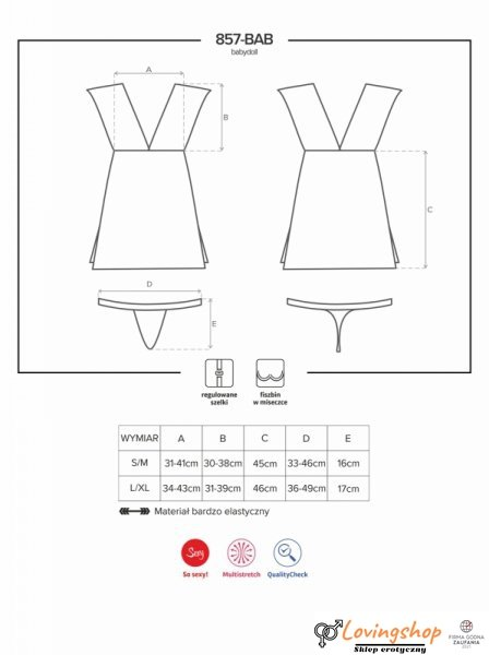 Bielizna-857-BAB-1 babydoll i stringi L/XL