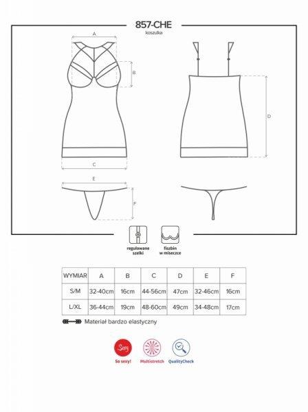 Bielizna-857-CHE-1 koszulka i stringi  S/M