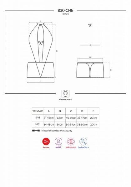 Bielizna-830-CHE-1 koszulka i stringi L/XL