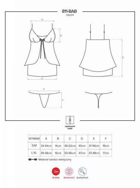 Bielizna-811-BAB-4 babydoll i stringi  S/M