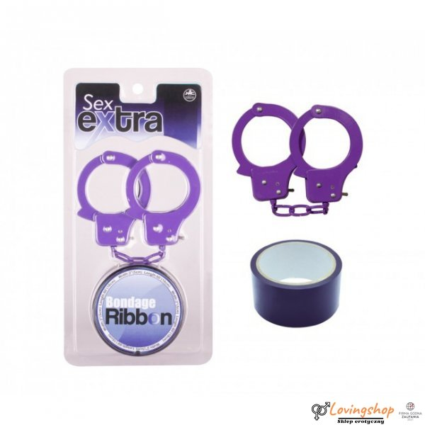Kajdanki-Purple Sex Extra PVC Ribbon and Handcuffs